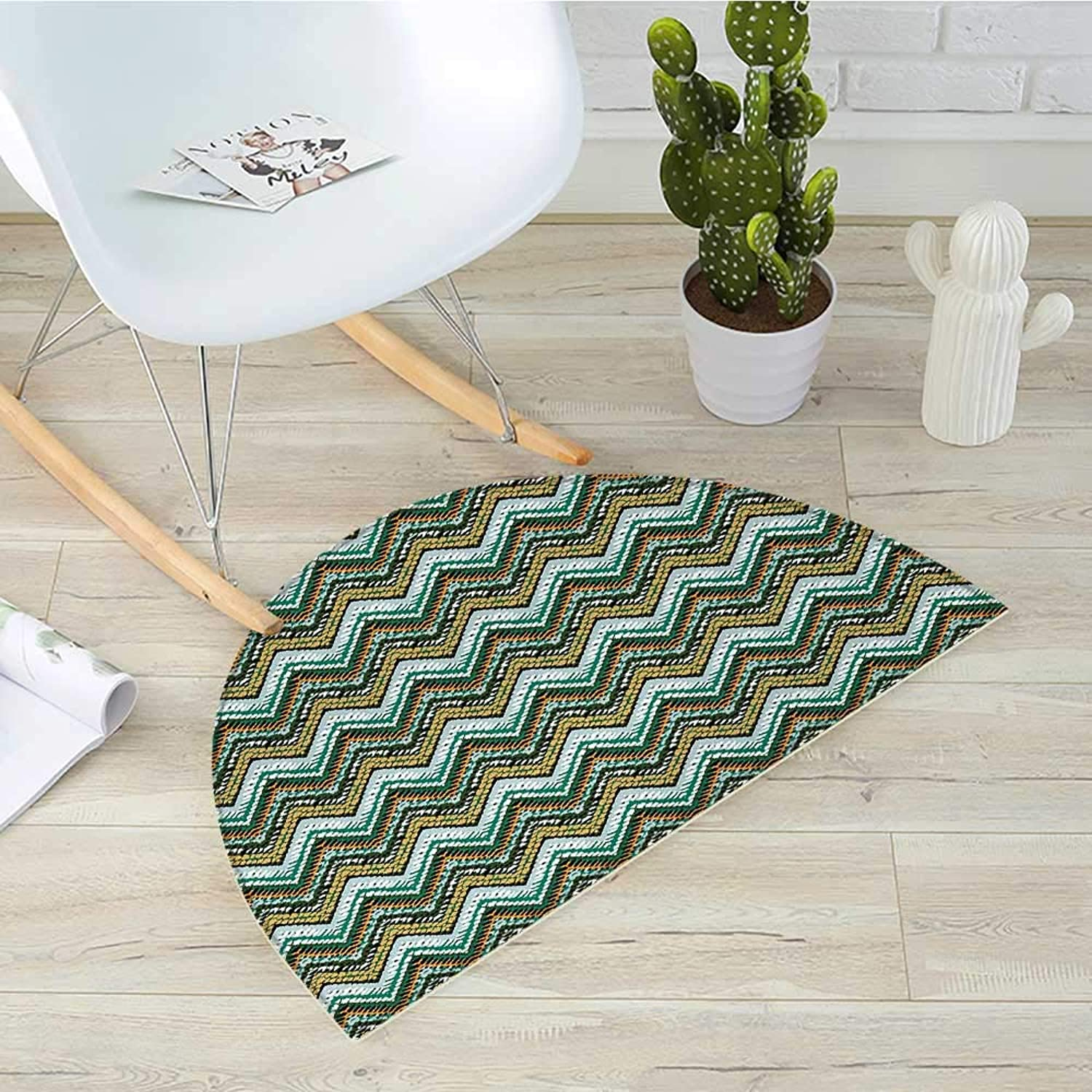 Ethnic Semicircular CushionStriped Boho Pattern Tribal Motifs Zigzag Lines Brushstrokes and Splatters of Paint Entry Door Mat H 43.3  xD 64.9  Multicolor