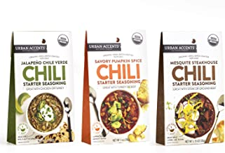 Urban Accents Gluten Free Chili Seasoning Starter Bundle, Chili Spice & Seasoning Packets (Set of 3) - Savory Pumpkin, Mesquite Steakhouse, Jalapeno Chili Verde - Perfect Gift for any Occasion