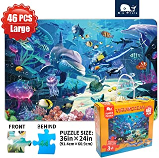 Kids Puzzle Puzzles for kids ages 4-8 Underwater Floor Puzzle Raising Children Recognition Promotes Hand Eye Coordinatio (46Pcs 3x2Feet)
