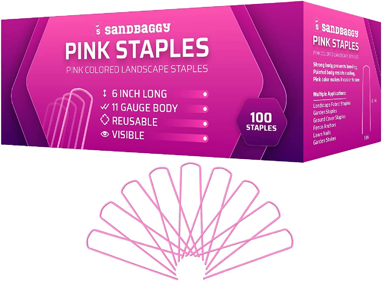 Sandbaggy Chicago Mall Pink Colored Landscape Staples 6 Stap Factory outlet ~ inch