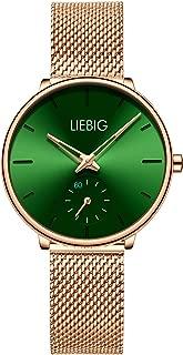 Women Rose Gold Watch, Waterproof Watch with Stainless Steel Mesh Band, Analog Quartz Dress Wrist Watch for Women