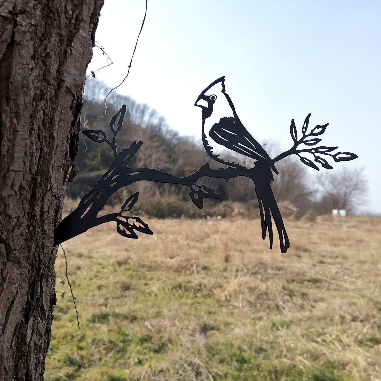 Metal Cardinal Bird On a Branch Tree Art, Steel Animals Silhouettes, Garden Yard Decoration, LKB1628-1