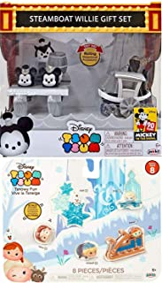 Tsnowy Frozen Pack Anna Elsa Olaf Mickey Steamboat Figures Bundled Mouse Retro Friends Edition 90 Years Black & White Tsum Exclusive Collection Character True Original Minnie Bundle 2 Items