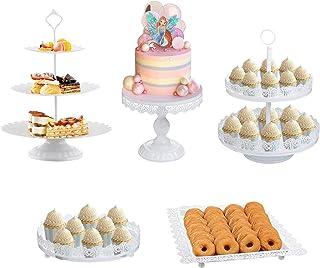 LIFESTIVAL 5 Pack Cake Stands Set White White Cupcake Holder Dessert Display Plate Decor Serving Platter for Party Wedding تولد جشن تولد دوش کودک تزئین خانه