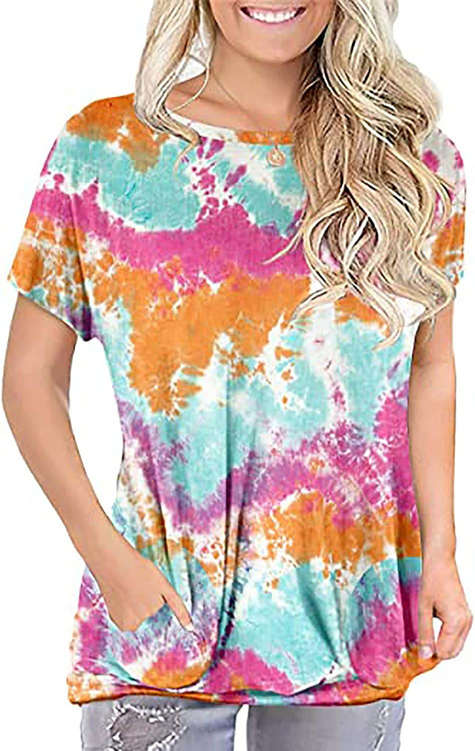 Tops for Women Lattice Summer Casual T-Shirts Tie Dye Short Sleeve Blouses Tunic Loose Basic Tunic with Pockets