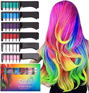Qivange Hair Chalk Comb for Halloween Makeup Christmas Gift 6 Color Hair Chalk Non-Toxic Washable Temporary Bright Hair Color Dye for Kids Girls Adult Birthday Cosplay Party