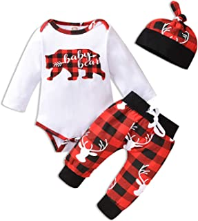 Baby Bear Boy Outfit Sets Letter Print Rompers, Long Pants and Hat 3PCS Newborn Baby Boy Clothes