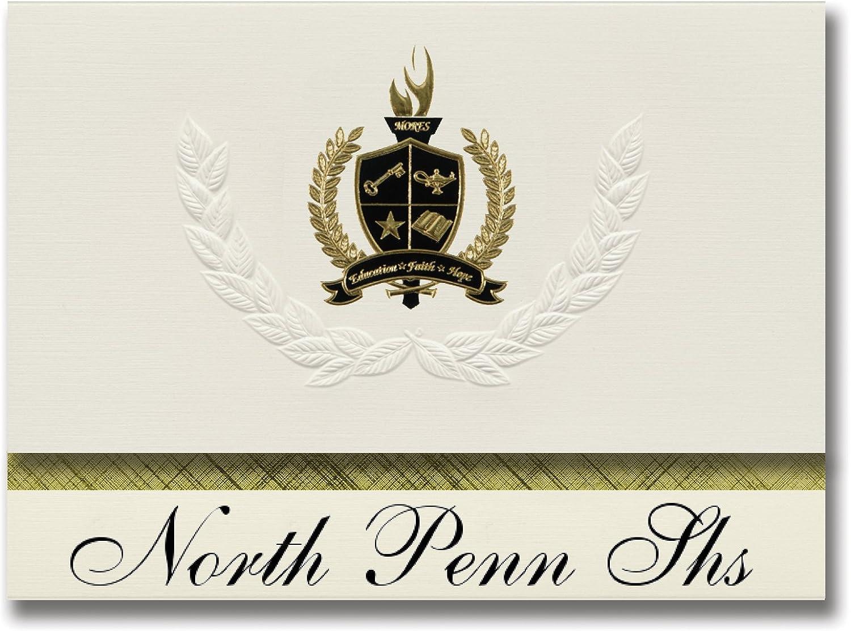 Signature Ankündigungen North Penn Penn Penn SHS (LANSDALE (, PA) Graduation Ankündigungen, Presidential Stil, Elite Paket 25 Stück mit Gold & Schwarz Metallic Folie Dichtung B078VDDHZK   | Billig ideal  f16f0e