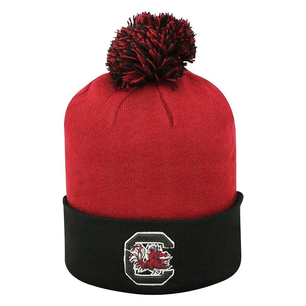 South Carolina Gamecocks Pom Cuffed Knit Two Tone Beanie Stocking Hat Cap 048208