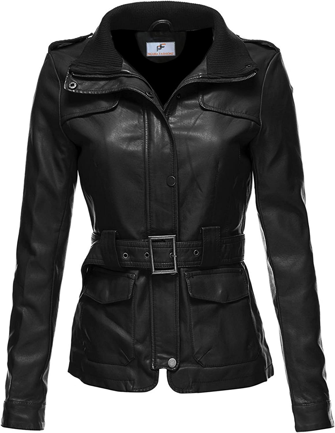 Figura Fashionz Long Body Lambskin Leather Jacket for Women with Adjustable Waist Belt  Petite, Regulae, and Plus Size