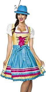 Dirndline Designer Dirndl mit Schürze Kleid Dirndkleid Oktoberfest Tracht Trachtenkleid Spitze Brokat Paspelierung Rüschen Borte Gelb Blau Pink XS - 3XL