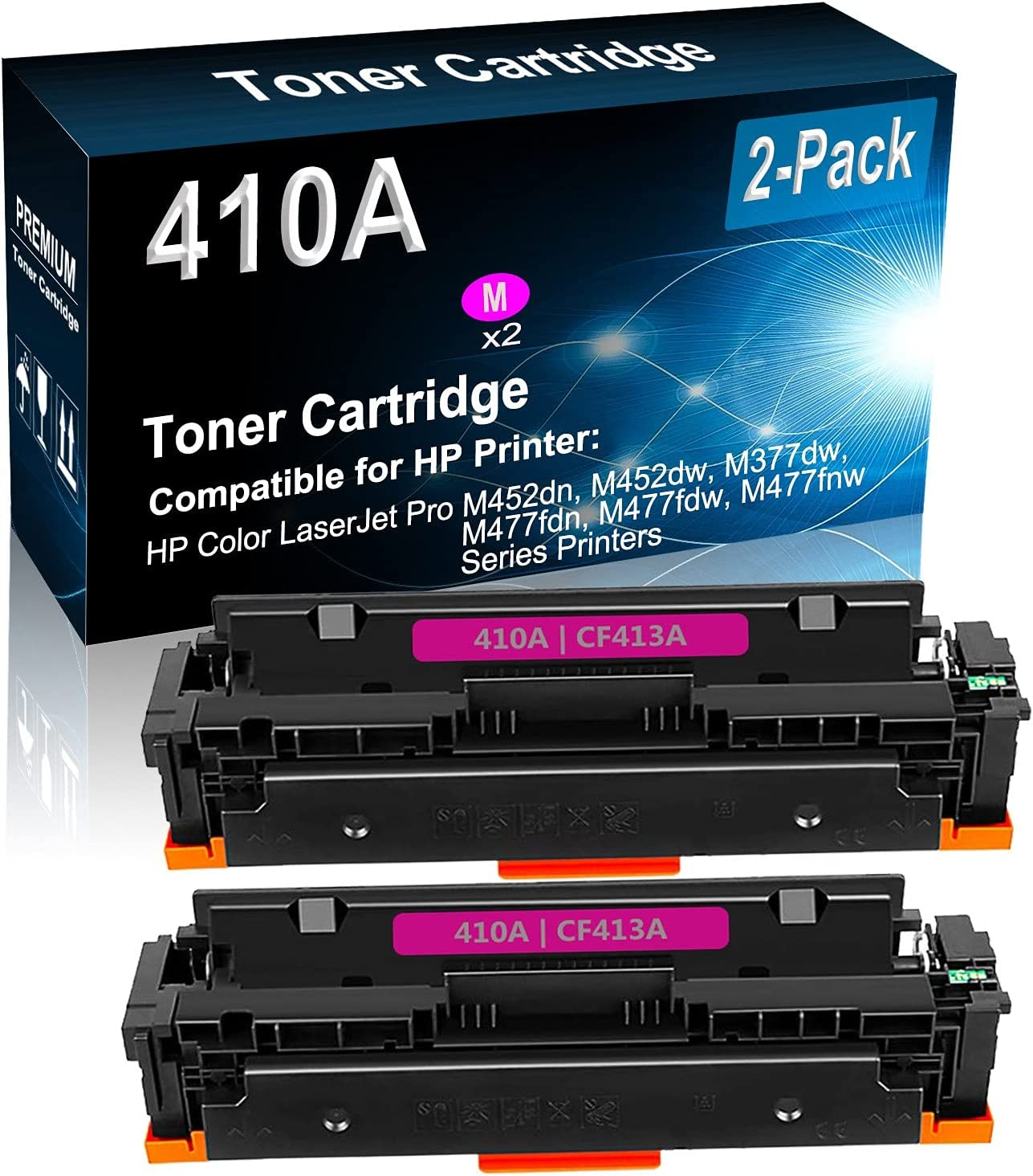 2-Pack (Magenta) Compatible M452dw, M377dw, M477fdn, M477fdw, M477fnw Color Toner Cartridge (High Capacity) Replacement for HP 410A (CF413A) Printer Toner Cartridge