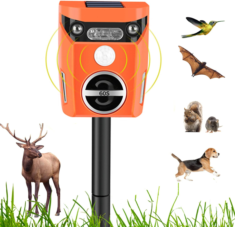 Solar Animal Repeller Ultrasonic Outdoor,Deer Repellent Devices for Garden,Deterrent with Motion Sensor & Strobe ,Big Coverage 1600sq.ft, Repel for Squirrel,Cat,Snake,Rabbit,Dog,Mice,Rat,Rodent,Etc.