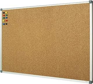Lockways Cork Board Bulletin Board, Double Sided Corkboard 36 x 24 Inch, Notice Board 3 x 2, Silver Aluminium Frame
