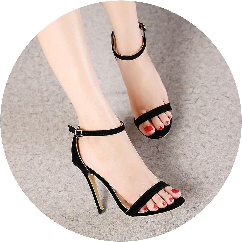 Ankle Strap Stiletto Thin High Heel Dress Sandals Black shoes Buckle Party Sandalias