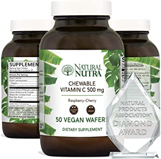 Natural Nutra Vitamin C Chewable with Acerola, Bioflavonoids and Rosehips for Kids and Adults - Antioxidant Immune Support...