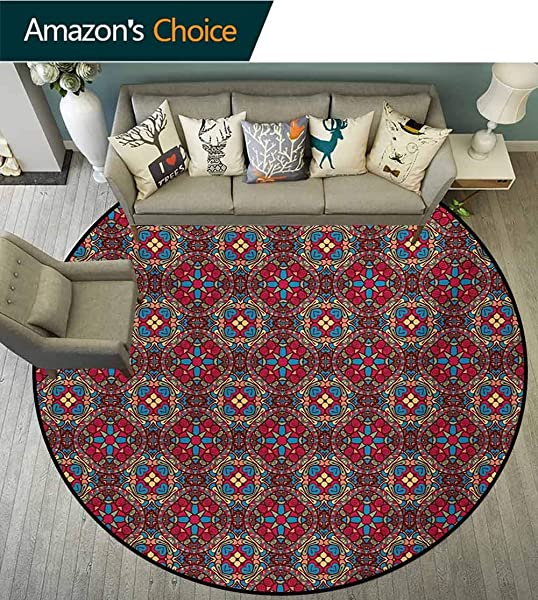 RUGSMAT Vintage Non Slip Area Rug Pad Round Retro Vivid Colored South Eastern Oriental Pattern With Geometric Floral Cuts Image Protect Floors While Securing Rug Making Vacuuming Diameter 35 Inch