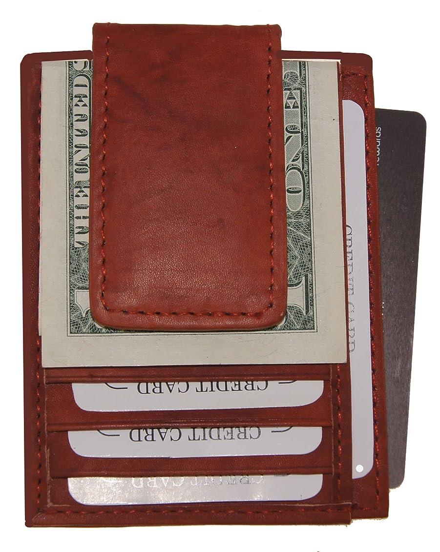 殉教者ハイキングに行くラフAGウォレットレザーMagnetic Money Clip withクレジットカードIDホルダースリム( Burgendy )