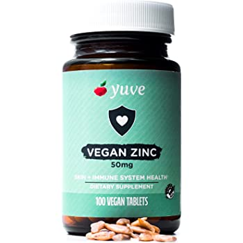 Yuve Vegan Natural Zinc 50mg Supplement - Boosts Your Immune System - Fast Relief from Colds and Flu - Acne Free Skin - Healthy Hormone Levels - Non-GMO, Gluten Free, Sugar Free - 100 Vegetarian Tabs