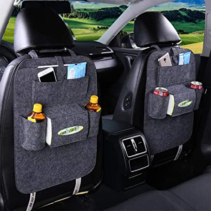 Sportplay 2PCS Car Backseat Organizer Adjustable Car Seat Back Storage Pocket with 7 Pockets Black Dark gray