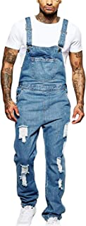 Soluo Men's Length Pocket Holes Ripped Jumpsuits Distressed Denim Bib Overalls Casual Jeans Trousers Suspender Pants
