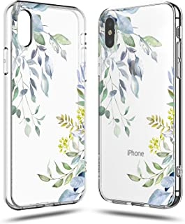 iPhone X Girls Case,iPhone X Case Women,Cute Spring Eucalyptus Bahama Leaves Love Summer Tropical Palm Tree Yellow Blue Flowers Floral Chic Trendy Simple Compatible Clear Soft Case for iPhone X/Xs