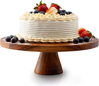 Acacia Wood Cake Stand, Wedding Cake Pedestal, Cupcake Server, 12