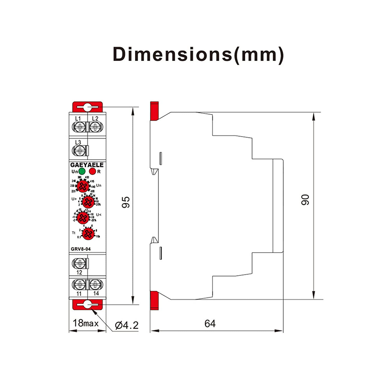 GEYA GRV8-03 Rel/é de monitoreo de voltaje trif/ásico de secuencia de fase y protecci/ón contra fallos de fase 10A GRV8-03 M460