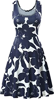 Women's Scoop Neck Sleeveless Midi Casual Flared Tank Floral Printed Dress