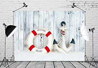 BELECO 7x5ft Nautical Backdrop Decorative Lifebuoy Anchor Starfish Sea Shells Wooden Blue Background Phtography Backdrop for Party Decoration Birthday Boy Baby Shower Photoshoot Props