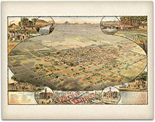 1885 Phoenix Arizona Map - 11x14 Unframed Art Print - Great Vintage Home Decor, Also Makes a Great Gift Under $15
