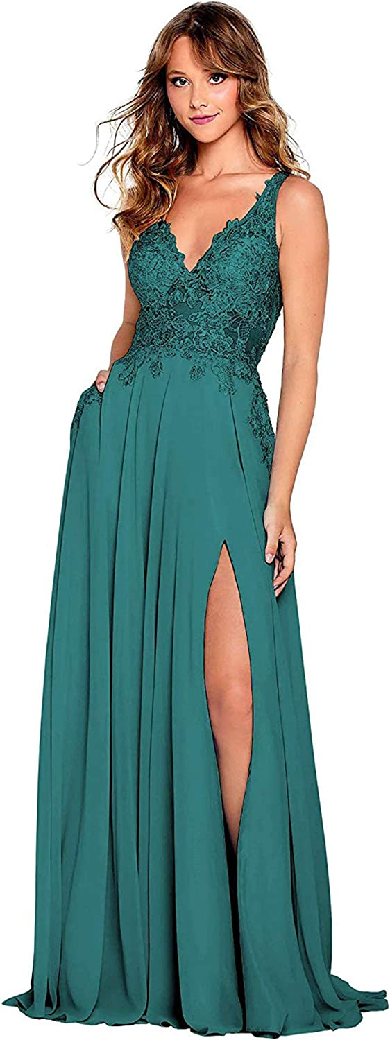 Vici Gowner 訳あり品送料無料 Women's V Neck Slit Dress Lace A 別倉庫からの配送 Applique Line Prom