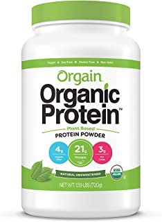 Orgain Organic Plant Based Protein Powder, Natural Unsweetened - Vegan, Low Net Carbs, Non Dairy, Gluten Free, Lactose Fre...