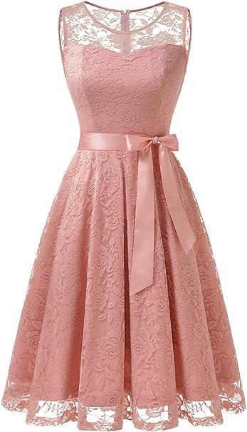 Dressystar Abendkleid Armellos Kurz Brautjungfern Kleid Spitzen Rundhals Damen Kleider Amazon De Bekleidung