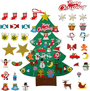 Tsuya DIY Felt Christmas Tree with 30PCS Sturdy Ornaments and Premium Bucket, Xmas Gifts for Kids, Christmas Home/Door Han...