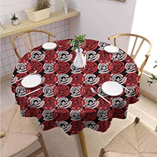 Cafeteria Round Tablecloth Floral Catering Activities Abstract Digital Featured Rose Petals Romantic Nature Themed Illustration,Round – 55 inch Black Ruby Pale Mauve