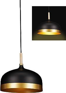 Relaxdays Lámpara de techo, Diseño vintage, Un foco, Luz de salón, Metálica, 125 x 33,5 cm, Negro & Dorado