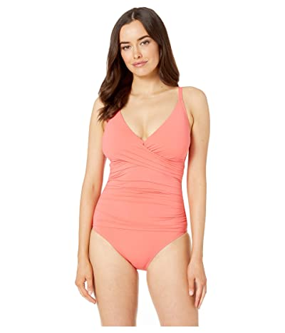 Tommy Bahama Pearl Over the Shoulder Cross Front One-Piece (Paradise Coral) Women