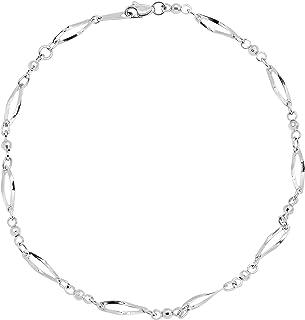 Eternity Gold Oval & Beaded Link Anklet Bracelet in 10K White Gold