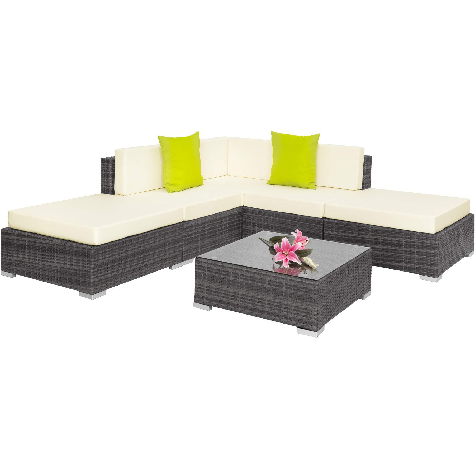 TecTake 403295 Conjunto de Muebles de Ratán, Set Modular Asientos y Mesa, Ideal Jardín Patio Salón, Incl. Cojines, Gris: Amazon.es: Jardín