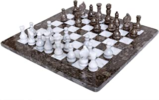 RADICALn 15 Inches Weighted Handmade Marble Grey Oceanic and White Staunton Tournament Chess Set - Non Othello Non Go Non Magnetic - Classic Ambassador Style Adults Chess Board Game Sets