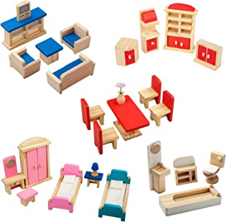 Giragaer 5 Set Colorful Wooden Doll House Furniture, Wood Miniature Bathroom/ Living Room/ Dining Room/ Bedroom/ Kitchen H...