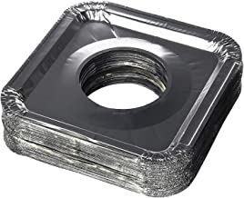 """Aluminum Foil Square Gas Stove Burner Covers – Pack of 150 – Disposable Bib Liners for Kitchen Gas Range Top - Keep Your Gas Range Clean with DCS Deals Drip Pans - 8.5 x 8.5 x .5"""" Inch"""