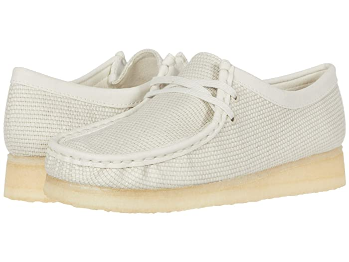 70s Shoes, Platforms, Boots, Heels Clarks Wallabee Off-White Textile Womens Lace up casual Shoes $139.95 AT vintagedancer.com