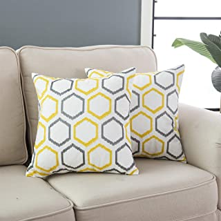 Taisier Home Embroidery Cozy Throw Pillow Case for Couch Bed Sofa,Cotton Embroidered Accent Pillow Hexagon Design Cushion Cover 18×18 Inches Sliver Grey&Yellow,Pack of 2