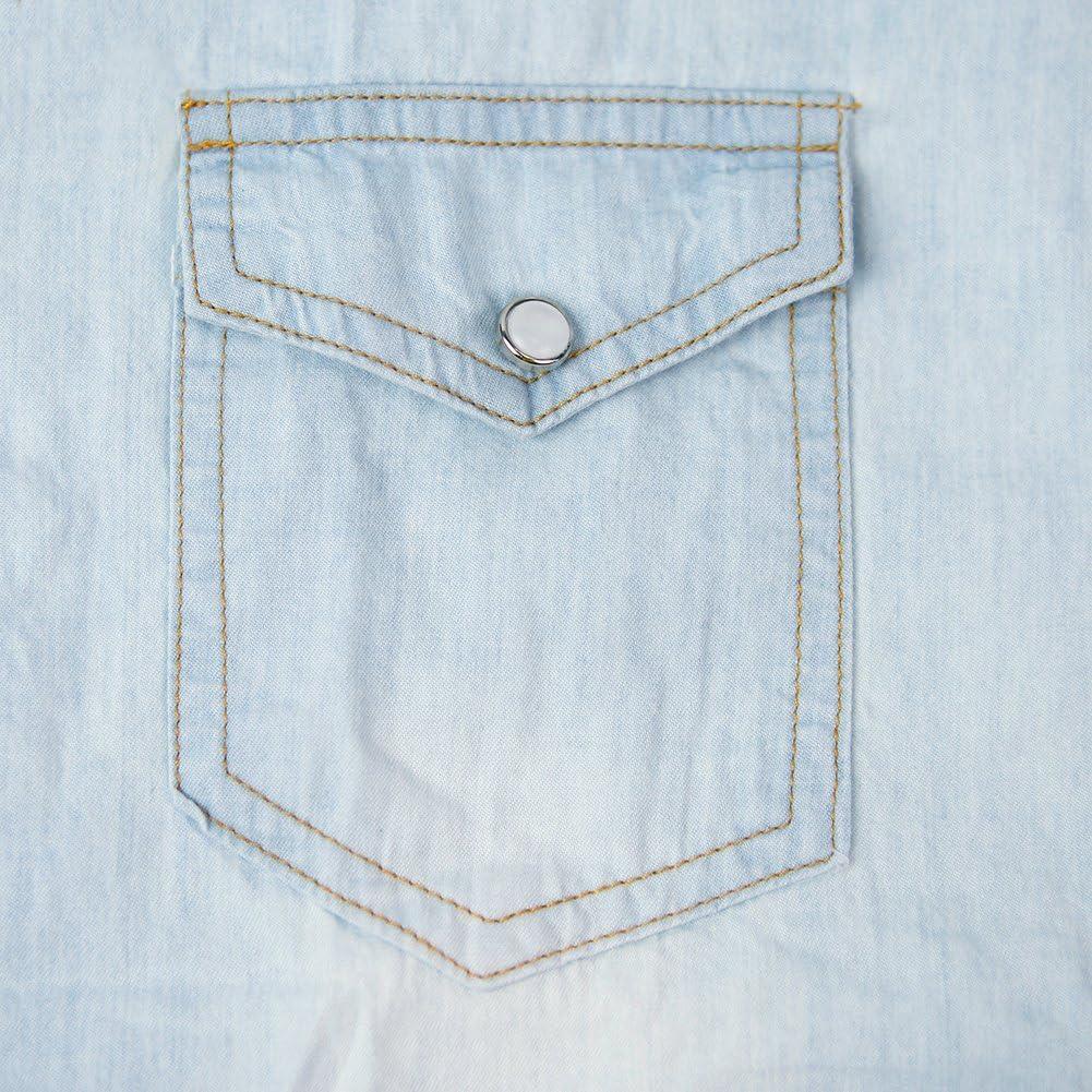 Bold Manner Damen Bluse Deinm Hemdbluse Retro Jeanshemd Langarm Jeansbluse Hellblau