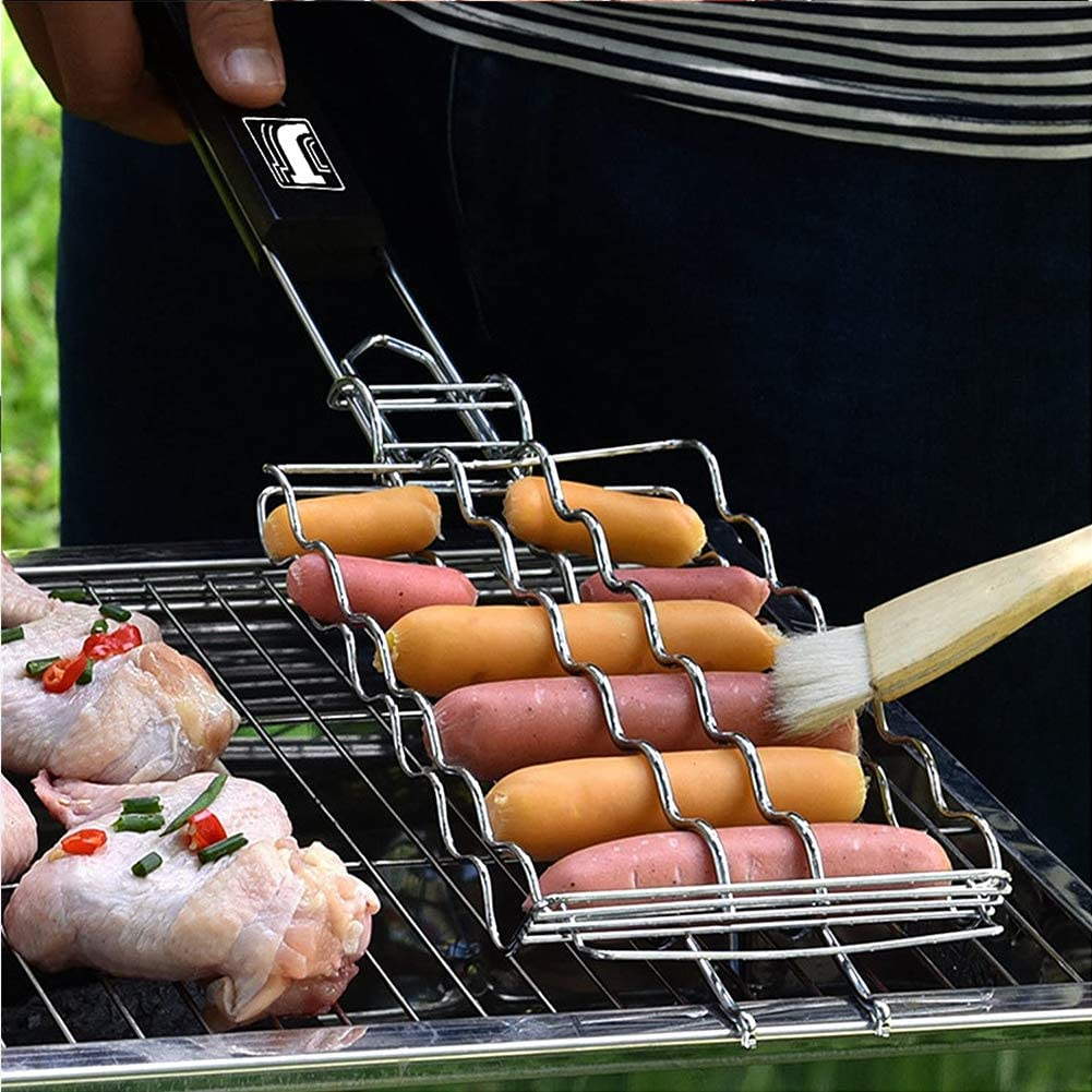 Ceakep Le Gril est composé d'un Panier de Gril en Acier Inoxydable 430, d'une Grille à Poisson, d'une Grande spatule pour Gril à Hamburger au Poulet, de Grandes Nouilles,A C