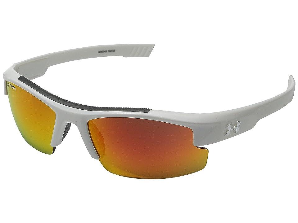 Under Armour Nitro L (Youth) (Storm Shiny White/Gray Polarized/Orange Mirror Lens) Sport Sunglasses