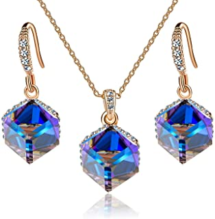 EVEVIC Colorful Cubic Swarovski Crystal Pendant Necklace Earrings Set for Women Girls 14K Gold Plated Jewelry Set