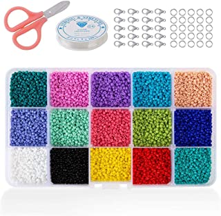SAPU Beads Kit 15000pcs Glass Seed Beads 2mm Beads for Name Bracelets Jewelry Making and Crafts, with 10m Long Elastic Str...